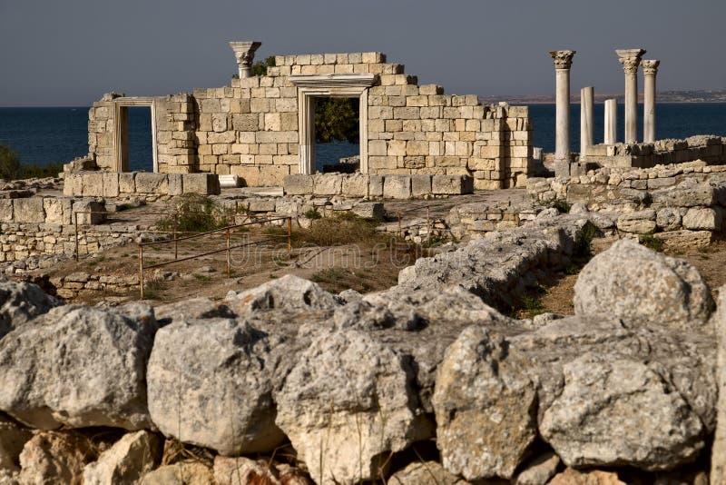 Ruínas de Tauric Chersonese em Sevastopol imagens de stock royalty free