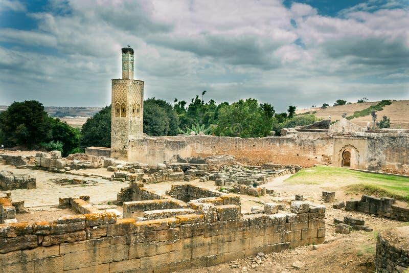 Ruínas deterioradas na necrópolis de Chellah imagens de stock royalty free
