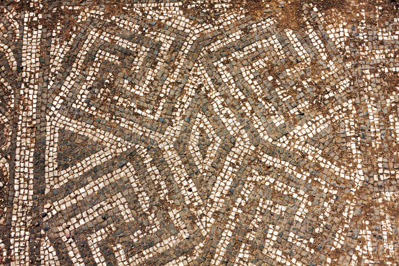 Ruínas do assoalho de mosaico do império romano em Ostia Antica - Roma - AIE fotos de stock