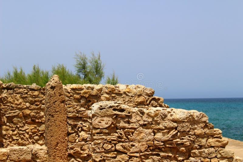 Ruínas do Carthaginian no Bon do tampão, Tunísia imagem de stock royalty free