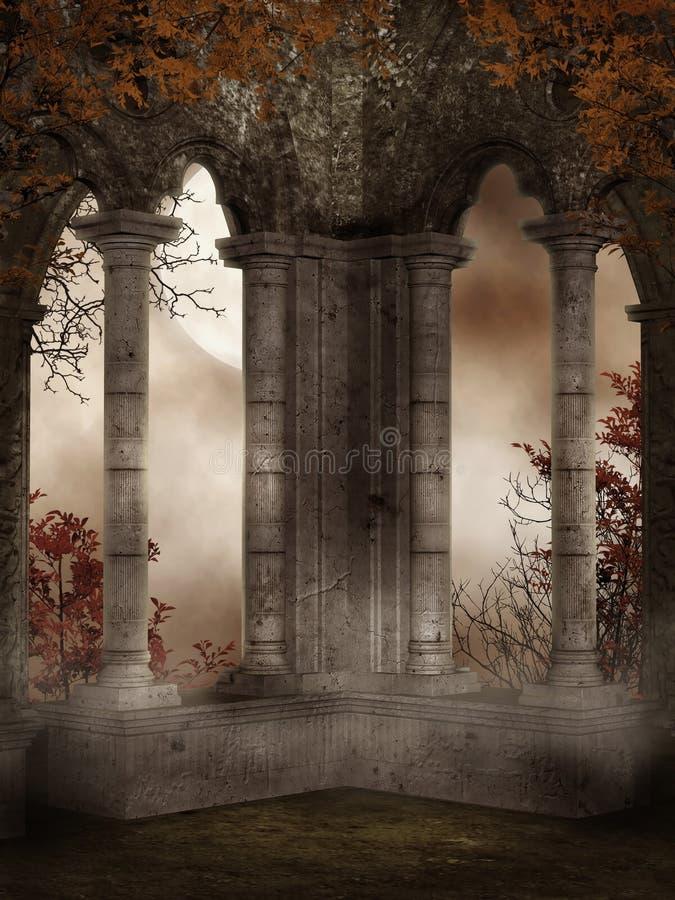 Ruínas do castelo com videiras ilustração do vetor