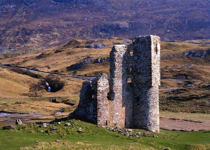 Ruínas do castelo de Ardvreck, loch Assynt, Scotland fotos de stock royalty free