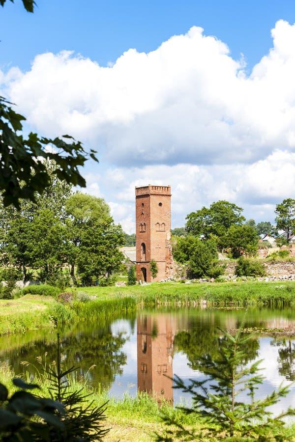 ru?nas do castelo de Kiszewski, Pomerania, Pol?nia imagem de stock royalty free