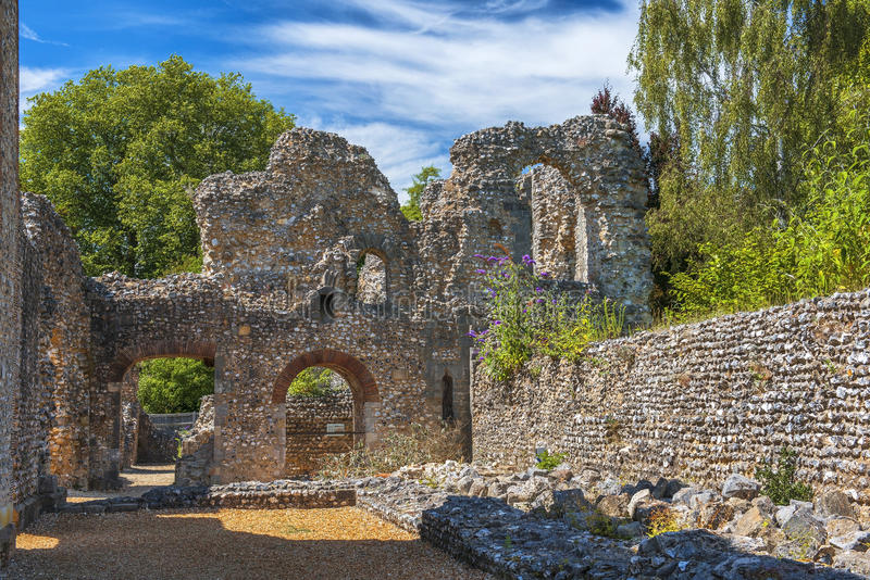 Ruínas do castelo de Wolvesey, Winchester, Inglaterra fotos de stock