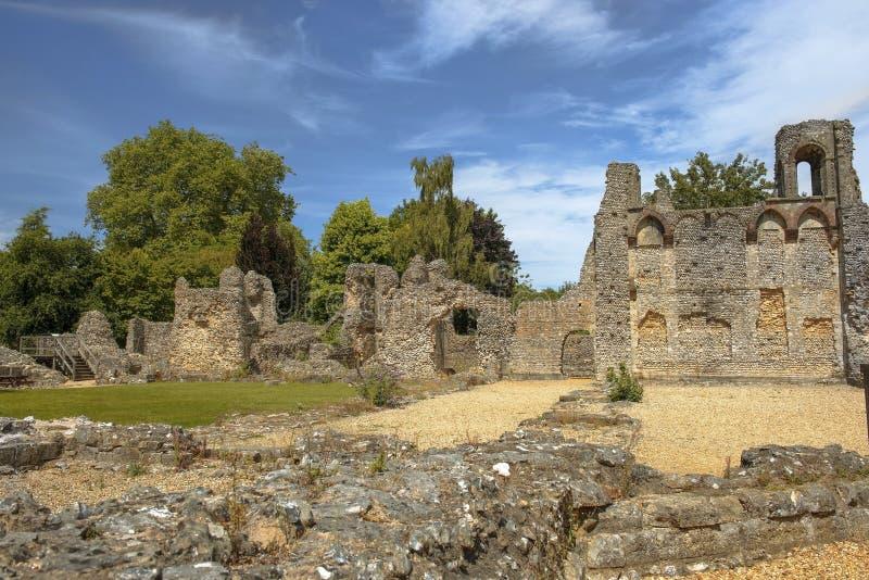 Ruínas do castelo de Wolvesey, Winchester, Inglaterra foto de stock royalty free