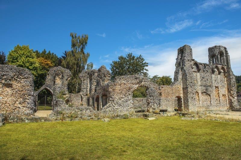 Ruínas do castelo de Wolvesey, Winchester, Inglaterra imagens de stock royalty free