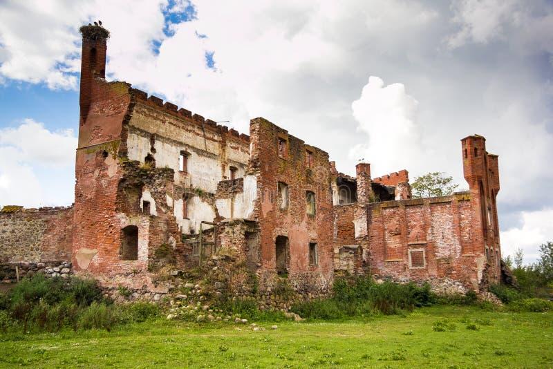 Ruínas do castelo prussiano Shaaken em Nekrasovo, região de Kaliningrad fotos de stock