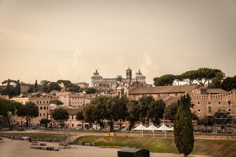 Ruínas do circo Maximus em Roma, Itália fotografia de stock