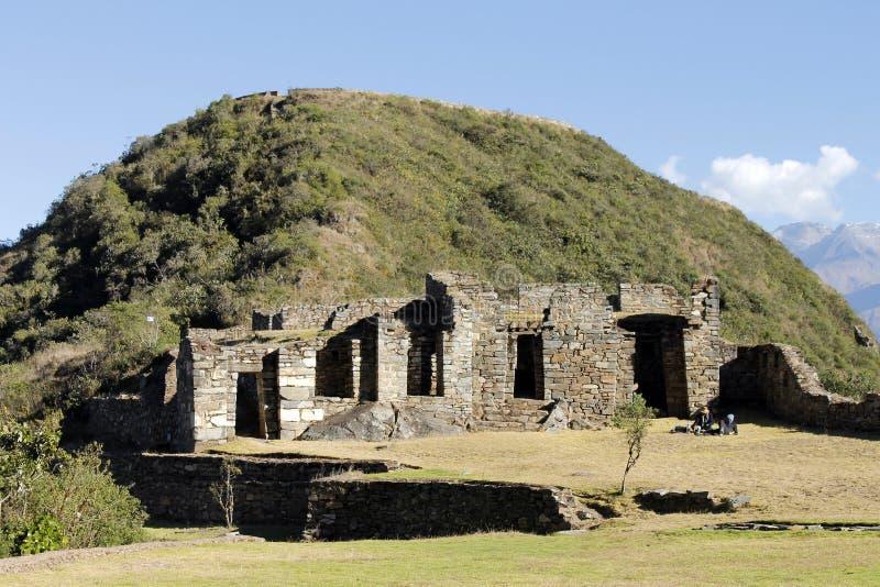 Ruínas do Inca de Choquequirao, Peru. imagem de stock