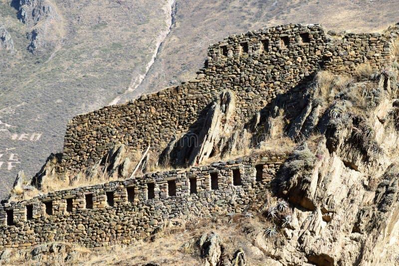 Ruínas do Inca em Ollantaytambo, Peru foto de stock royalty free