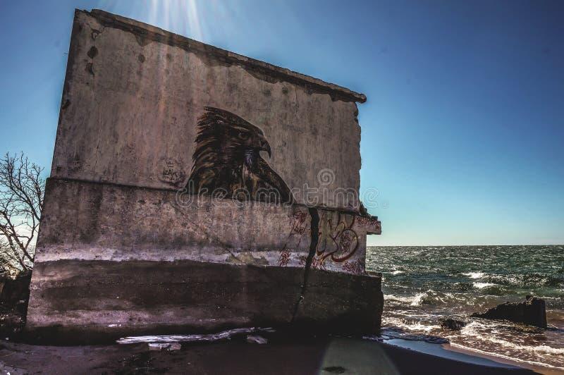 Ruínas do mar de Graffity imagem de stock royalty free