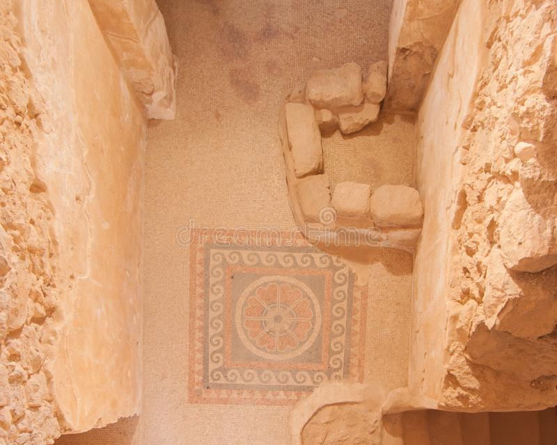 Ruínas do mosaico de Masada fotografia de stock royalty free