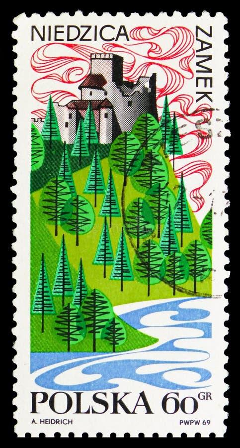 Ruínas do 16o centavo Castelo, Niedzica, serie da publicidade do turista, cerca de 1969 ilustração royalty free