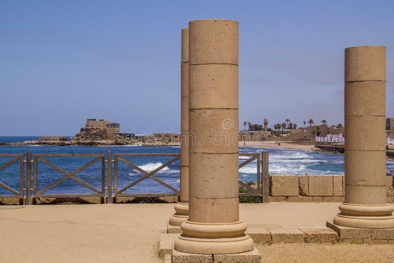 Ruínas do palácio de Herods em Caesarea Costa mediterrânea de Israel fotos de stock