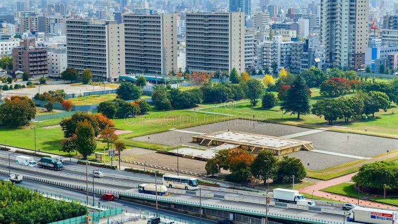 Ruínas do palácio de Naniwa Nagara-Toyosaki em Osaka fotografia de stock royalty free