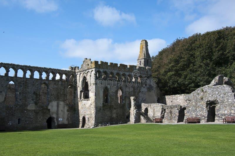 Ruínas do palácio dos Bishops do St Davids imagens de stock