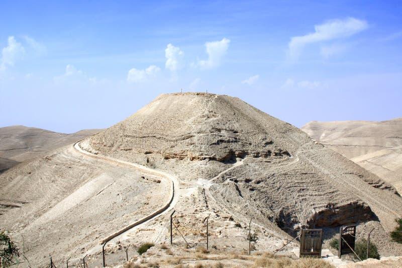 Ruínas do palácio fortificado Machaeros do rei Herod, Jordânia foto de stock
