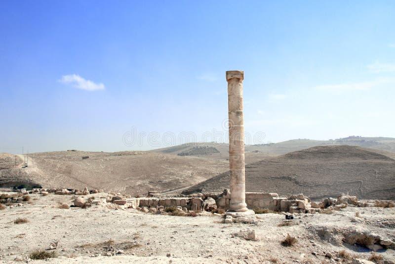 Ruínas do palácio fortificado Machaeros do rei Herod, Jordânia fotografia de stock royalty free