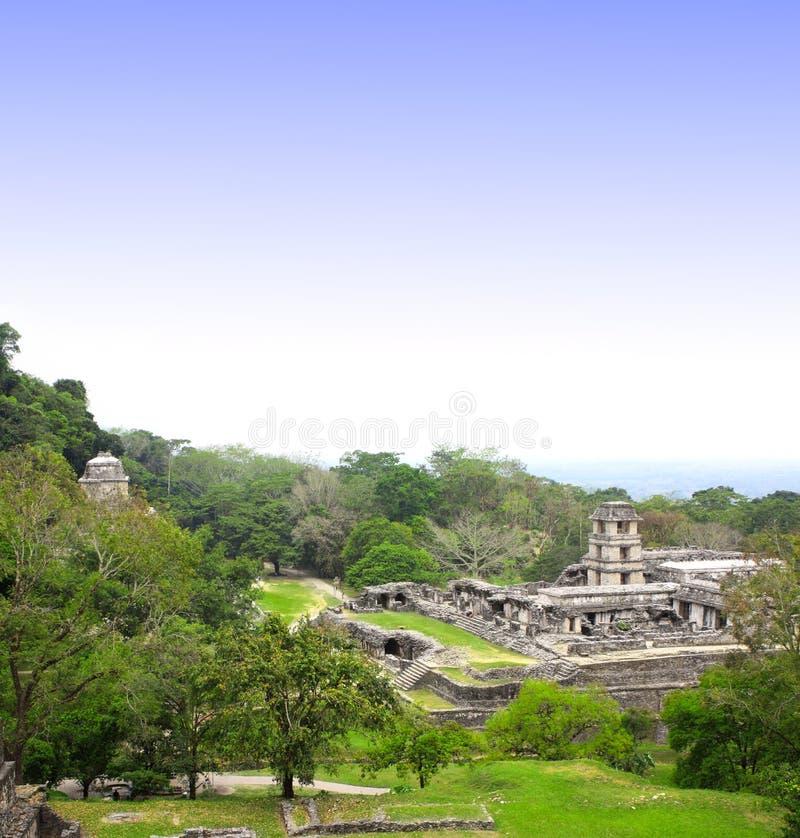 Ruínas do palácio real, Palenque, Chiapas, México foto de stock
