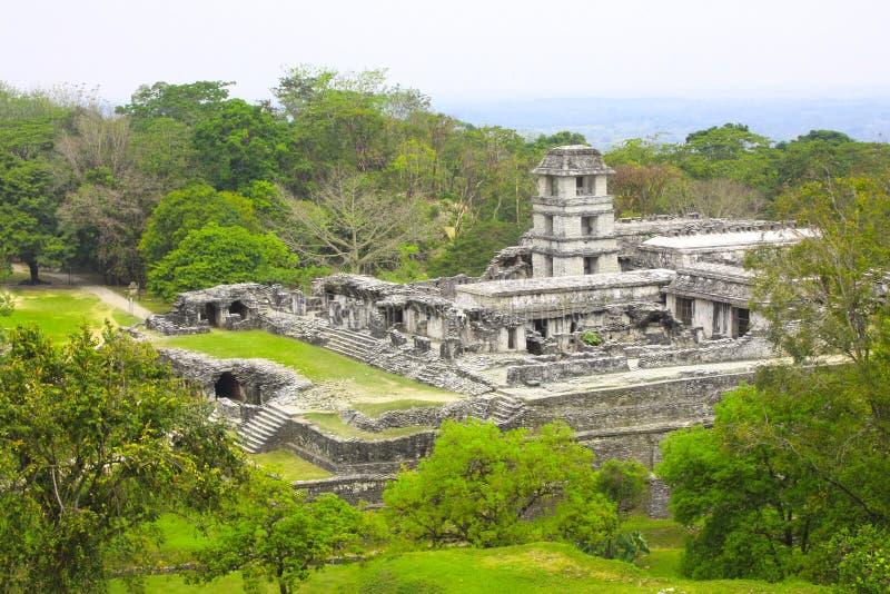 Ruínas do palácio real, Palenque, Chiapas, México fotografia de stock