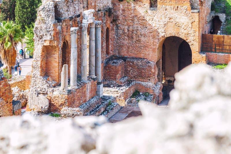 Ruínas do teatro grego de Taormina, Sicília fotos de stock