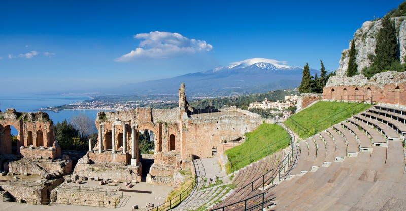 Ruínas do teatro grego, Taormina imagens de stock