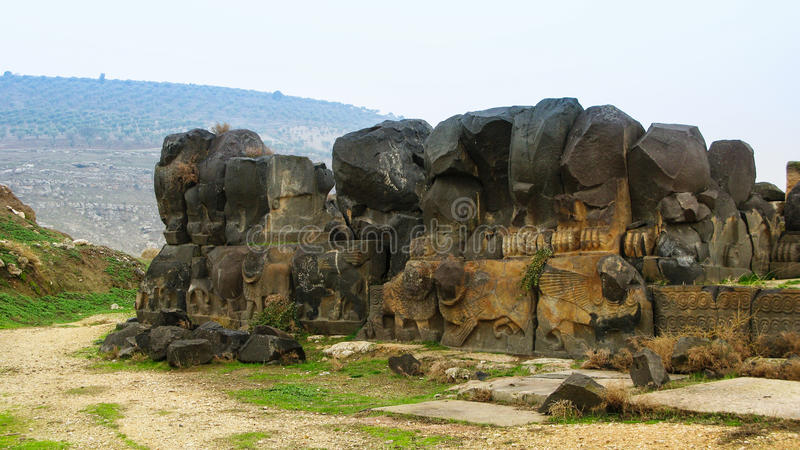 Ruínas do templo de Ain Dara perto de Aleppo Síria fotos de stock royalty free