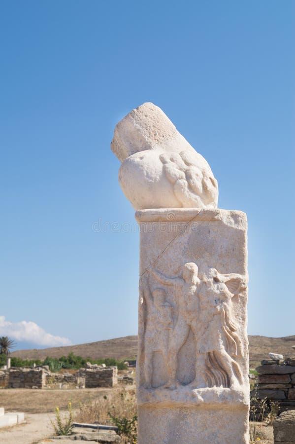 Ruínas do templo de Dionysos, Delos imagens de stock