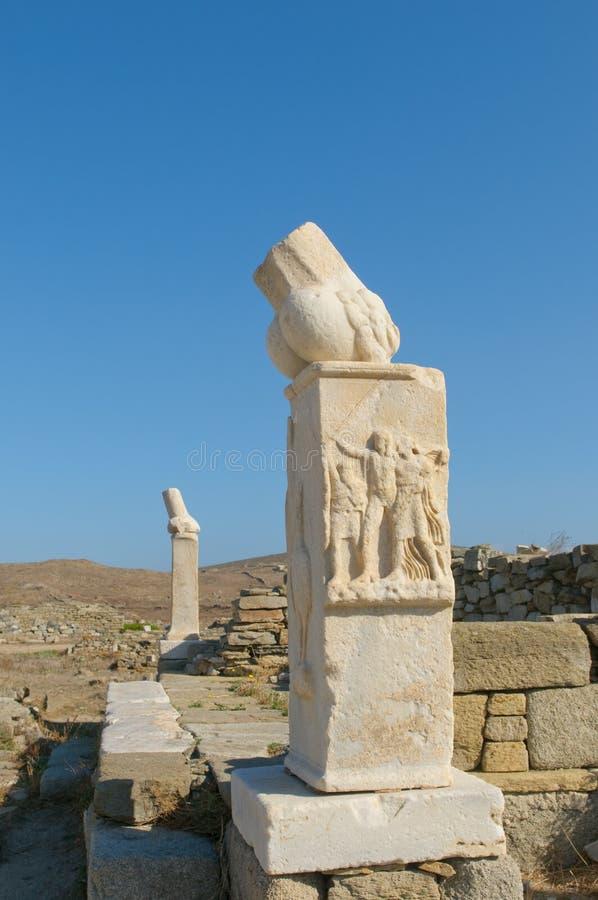 Ruínas do templo de Dionysos, Delos, Greece imagem de stock