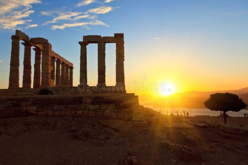 Ruínas do templo de Poseidon fotografia de stock