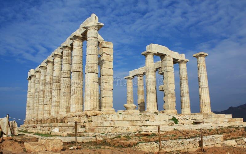 Ruínas do templo de Poseidon em Greece imagem de stock
