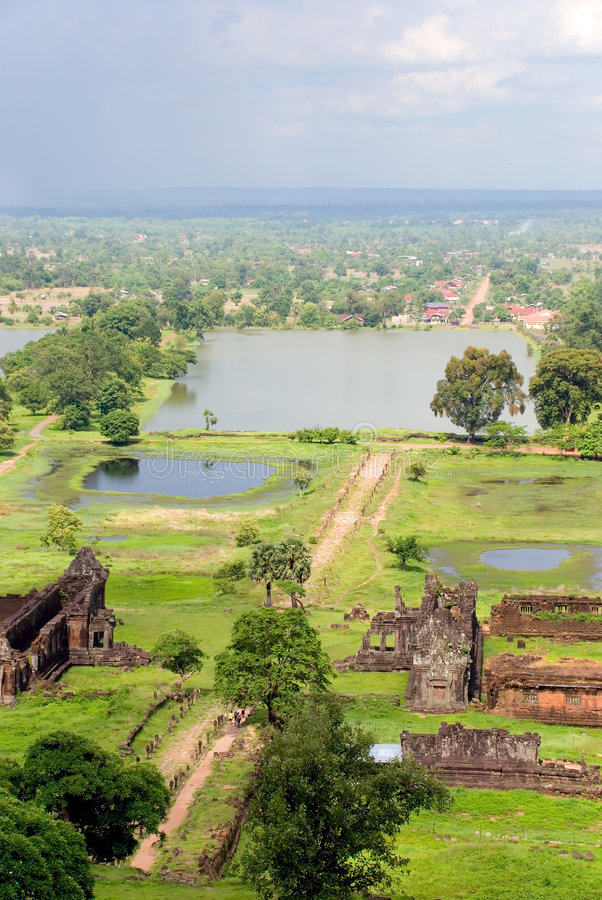 Ruínas do templo do champasak do phu de Wat, laos fotografia de stock royalty free