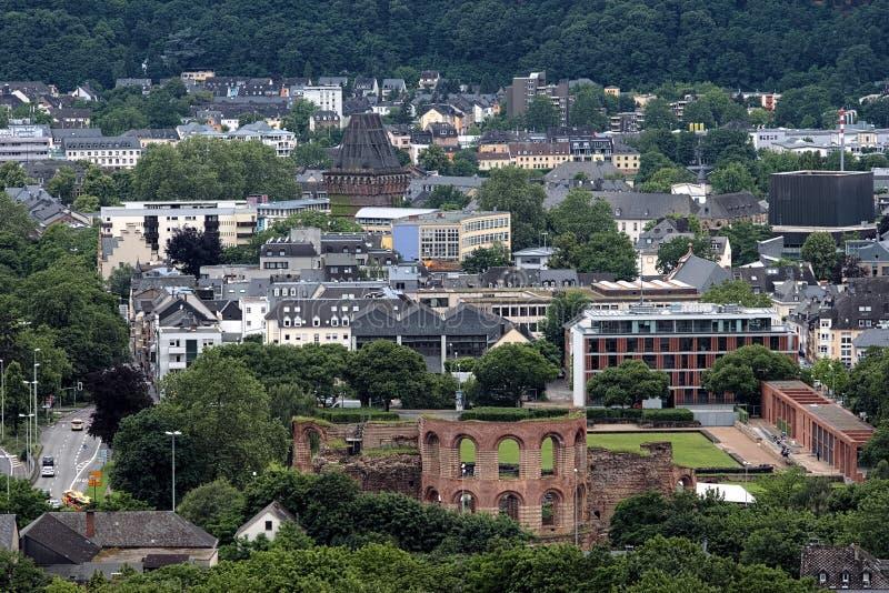 Ruínas dos banhos imperiais romanos no Trier, Alemanha foto de stock