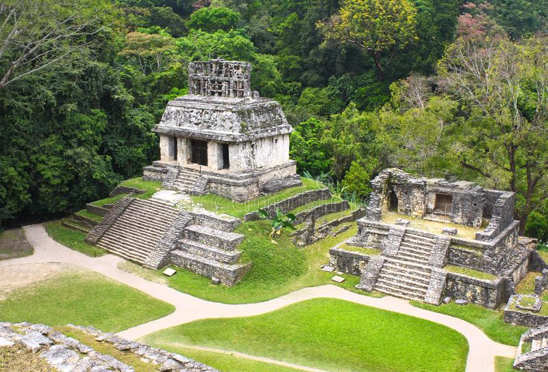 Ruínas dos templos do grupo transversal, Palenque, Chiapas, México fotos de stock