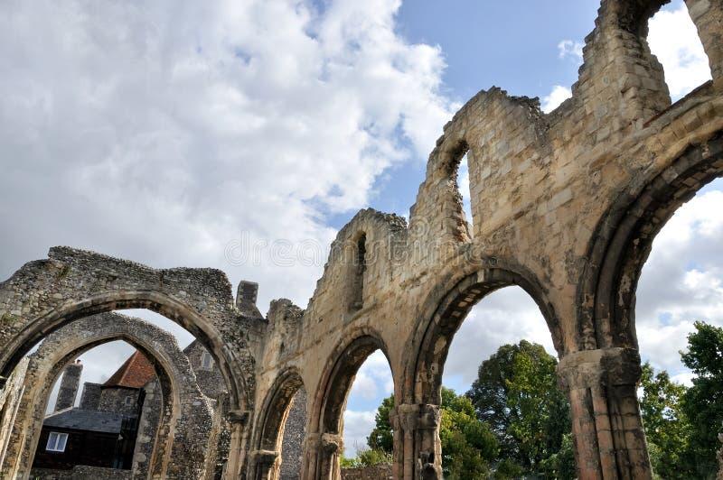 Ruínas em Canterbury, Reino Unido imagens de stock