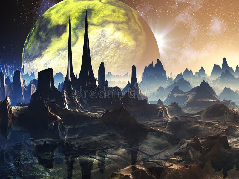 Ruínas estrangeiras da cidade no planeta Faraway ilustração do vetor