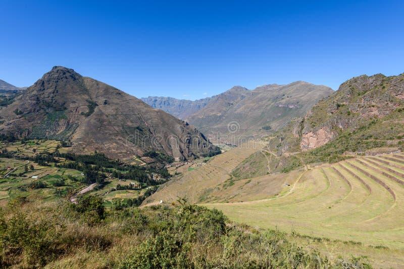 Ruínas Incan em Pisac, Peru imagens de stock