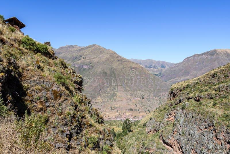 Ruínas Incan em Pisac, Peru imagem de stock