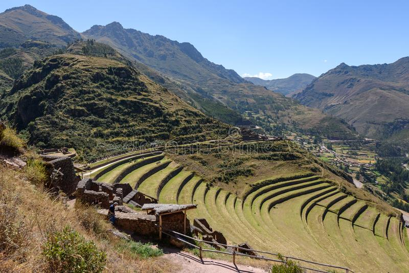Ruínas Incan em Pisac, Peru fotos de stock royalty free