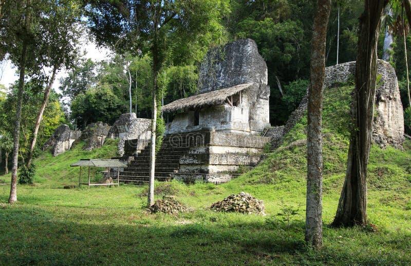 Ruínas no parque nacional de Tikal, Guatemala do templo foto de stock