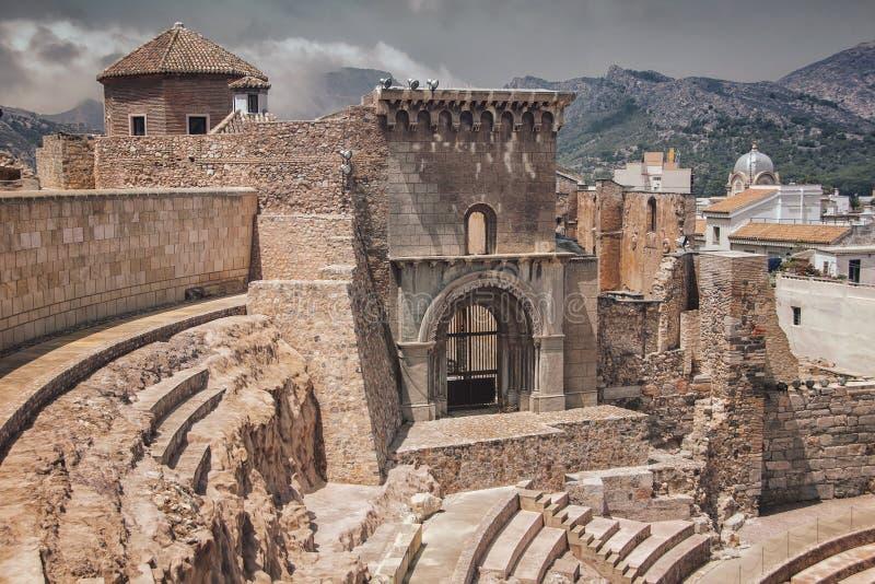 Ruínas romanas em Cartagena imagem de stock