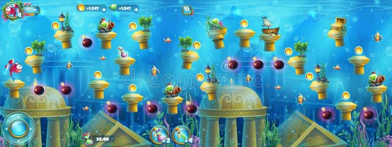 Ruínas subaquáticas com um grupo de elementos ilustração royalty free