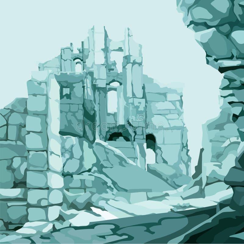 Ruínas tiradas fundo da pedra de gelo na cor azul ilustração stock