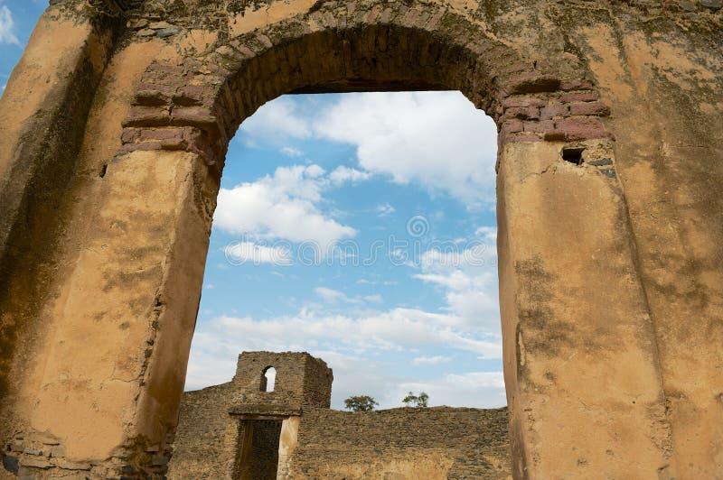 Ruïne van de middeleeuwse vesting in Gondar, Ethiopië stock afbeeldingen