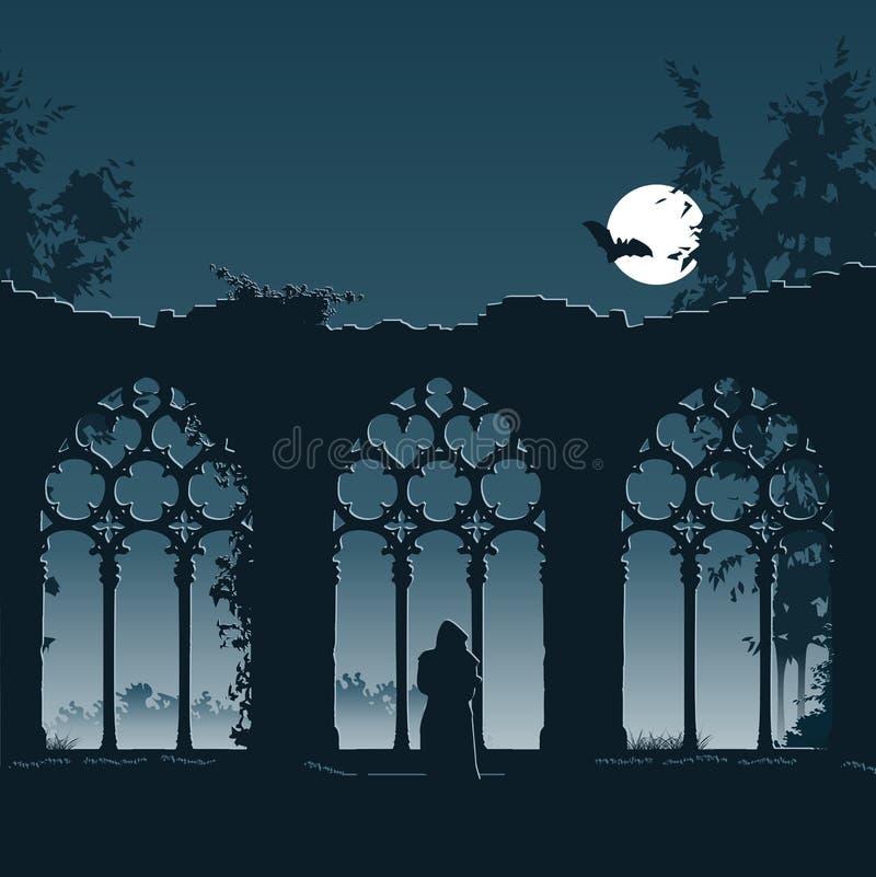 Ruïne van een abdij stock illustratie