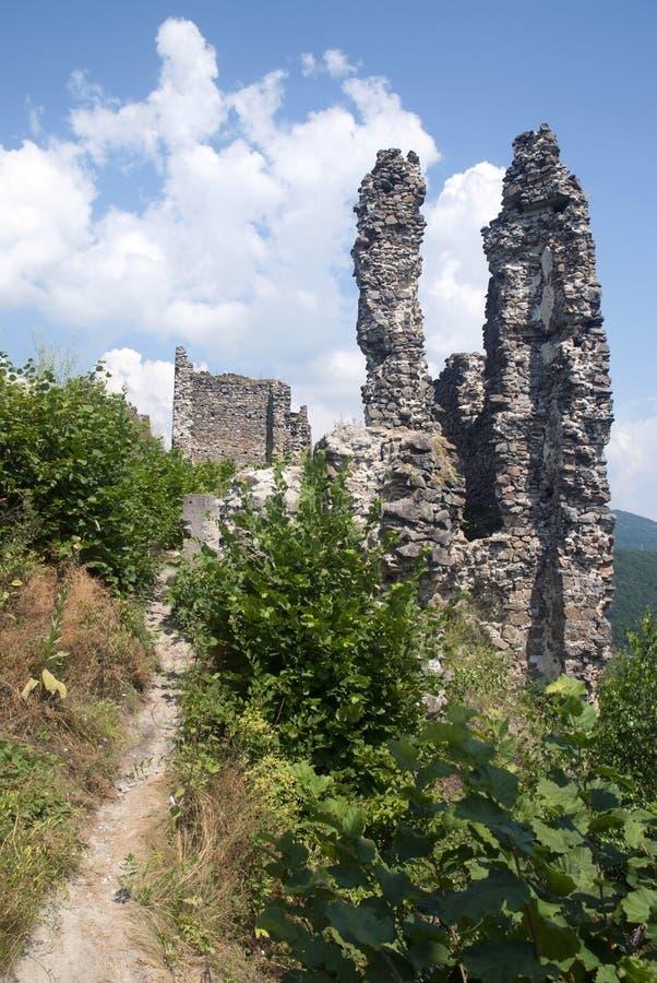 Ruïne van kasteel Reviste, Slowakije royalty-vrije stock fotografie