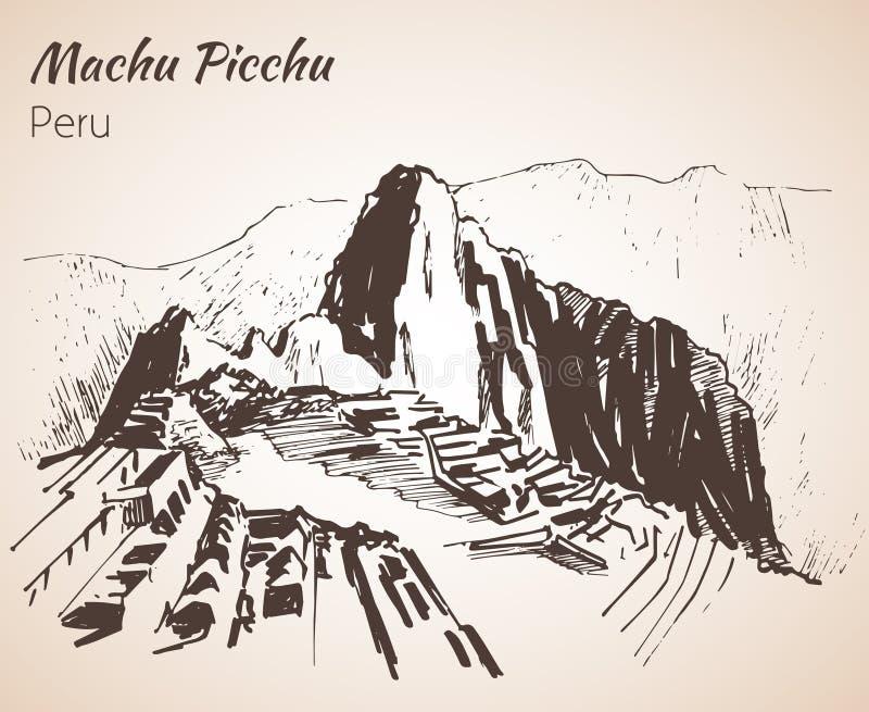 Ruïne van oude beschaving Machu Picchu Peru, schets vector illustratie