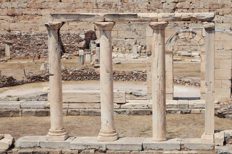 Ruïnes in Athene stock afbeeldingen