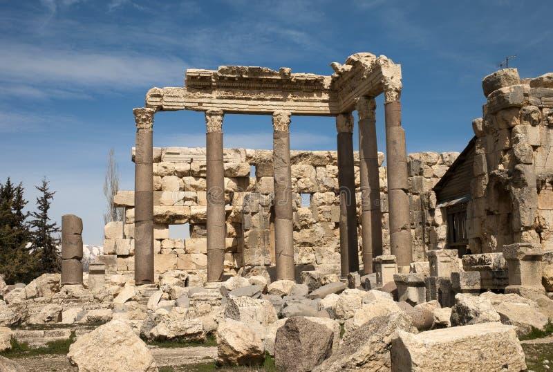 Ruïnes in Baalbek, Libanon stock foto's