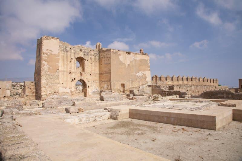 Ruïnes bij het kasteel van Almeria stock fotografie